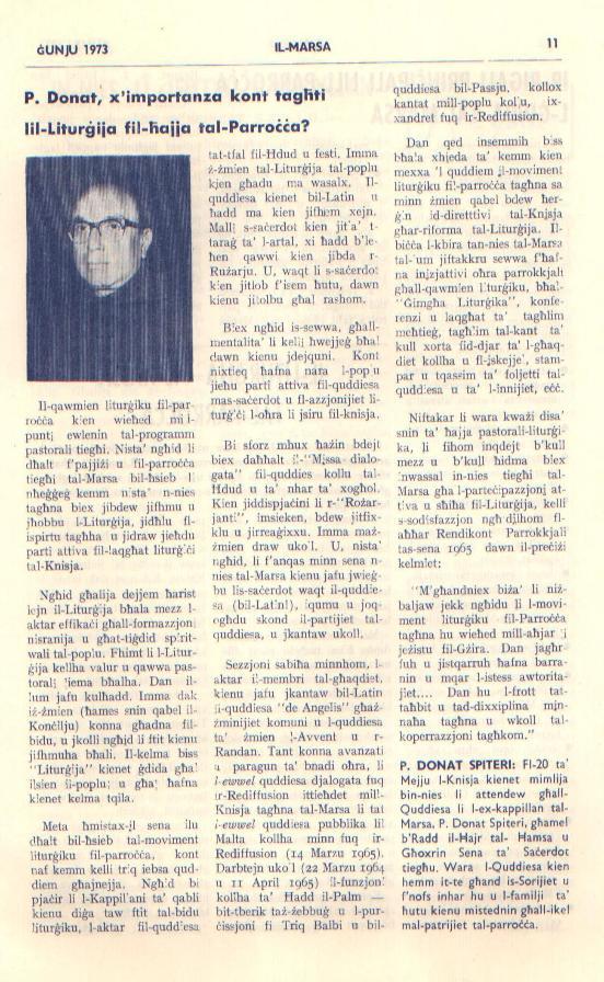 Il-Liturgija fil-Hajja tal-Parrocca - Fuljett il-Marsa Gunju 1973